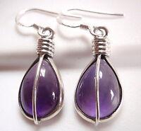 Purple Amethyst Teardrop 925 Sterling Silver Dangle Earrings Corona Sun Jewelry