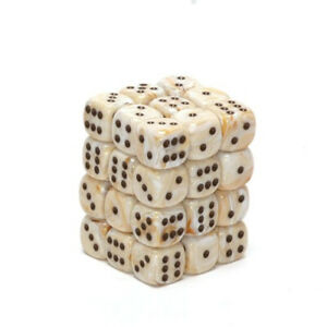 Dice and Gaming Accessories D6 Sets Swirled Marble: 12mm d6 Ivory/Black (36)