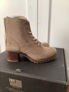 Frye Womens Sabrina 6G Lace Up Beige Combat Boots Size 9 NIB