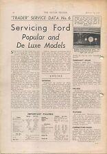 Ford Popular & De Luxe E93A Motor Trader Service Data No 6 1937