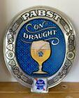 Vintage PBR 'On Draught Pabst Blue Ribbon' Plastic Beer Sign