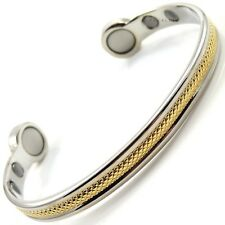 LARGE EXTRA STRONG MAGNETIC BRACELET bangle carpal tunnel arthritis silver gold