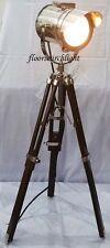 NAUTICAL DESIGNER SEARCHLIGHT BROWN TRIPOD STAND SPOT LIGHT STUDIO TABLE LAMP