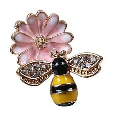 2 Enamel Bumble Bee Charms Yellow Black Pink Flower Rhinestone Gold Plated