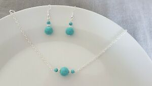 Earrings & Necklace Jewellery Set  Silver plated Turquoise Stone, bridal, boho