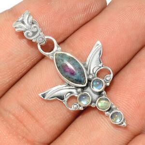 Angel Wing - Ruby In Kyanite & Moonstone   Silver Pendant Jewelry BP94999