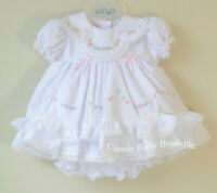 NWT Will'beth White Color Heirloom Lace 2pc Dress Newborn Bloomers Girls Frilly
