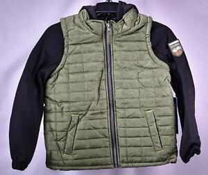 iXtreme Big Boys' Tonal Print Vest W/Fleece Hood & Sleeves - OLIVE
