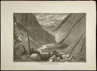 1860 - Tal der L'Heimdal - Gustave Golden - Gravur Skandinavien Norwegen