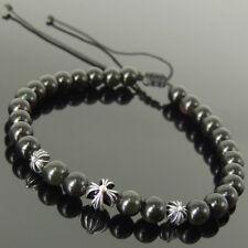 Black Obsidian Cross Braided Bracelet 6mm Gemstones Sterling Silver Beads 1560