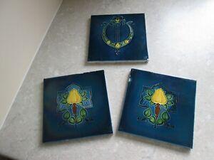 THREE ART NOUVEAU CERAMIC TILES - FLOWER DETAIL - IRIDESCENT GLAZE C.1900