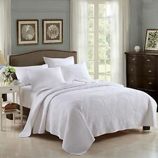100%25 Cotton Coverlet / Bedspread Set King & Super King Size Bed 250x270cm White