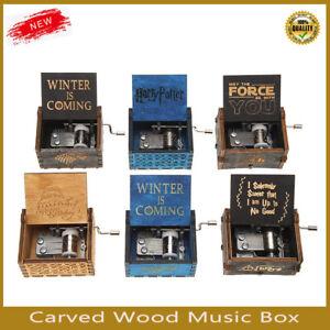 Retro Carved Wood Music Box Hand Crank Musical Toys Birthday Valentine Kid Gifts