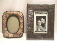 2 Fabric Covered Plastic Picture Frames Rectangular Oval Small Medium With Glass