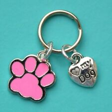 Dog Collar Charms with Pink Enamel Paw Charm & Love My Dog Heart New LB314