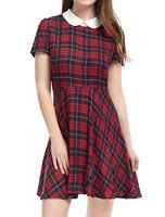 Allegra K Women Checks Peter Pan Collar Puff Sleeves Above Knee Dress Red L