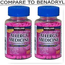 Kirkland Signature Allergy Medicine Diphenhydramine HCI 25 Mg, 2 x 600 Minitabs!