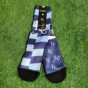 Stance Men's MLB Baseball Kansas City Royals Splatter Crew Blue Socks M NEW