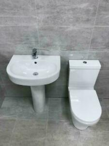 Cosmo Basin Sink and Ped  With Charlie Toilet And Soft Close Seat & Optional Tap