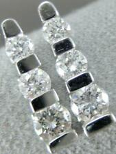 MODERN DIAMOND 14K WHITE GOLD PAST PRESENT FUTURE SPLIT CHANNEL EARRINGS ER#2871