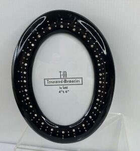 "Ganz Treasured Memories Freestanding Oval Photo Frame 4X6"" Rhinestone Black"