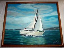 Original 1988 Nautical Painting , Sailboat Sailing Marine Yacht , Buccaneer