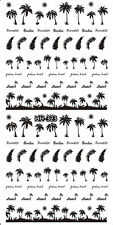 Buy 2 Get 1 Free, Black Beach Palm Tree Feather Water Nail Art Stickers New