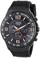 Pulsar Men's PT3403 Chronograph Analog Japanese Quartz Polyurethane Black Watch