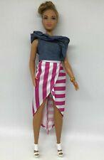 Barbie Doll - Fashionistas Curvy Hispanic Doll - Striped Skirt & Denim Top