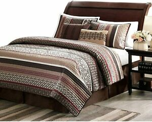 NEW! ~ COZY CHIC BROWN RED BURGUNDY GREY TAUPE LOG CABIN LODGE STRIPE QUILT SET