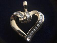 Estate Channel Diamond Yellow Gold 10k 3.2g Heart Pendant Valentine Sweetheart
