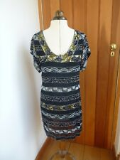 FRENCH CONNECTION BLACK BEADED SEQUIN BLING MINI PARTY DRESS 8