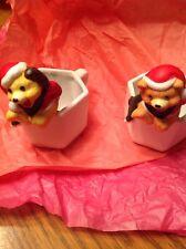 Vintage House Of Lloyd Christmas Animal Tea Cups 1991 Dog And Bear