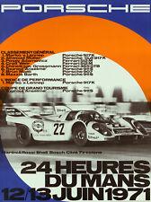 VINTAGE PORSCHE LE MANS 1971 RACING A2 POSTER PRINT