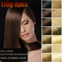 170g 8PCS Thick Double Weft Clip In 100%Real Remy Human Hair Extension Full Head