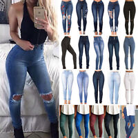 Women's Frayed Distressed Skinny Pants Leggings Stretch High Waist Denim Jeans