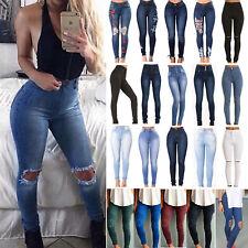femmes skinny déchiré Pantalon jeans élastique taille haute fin crayon