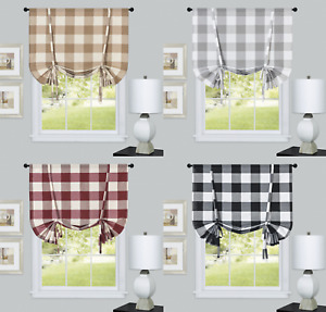 Country Farmhouse Plaid Gingham Tie Up Curtain Shades - Assorted Colors