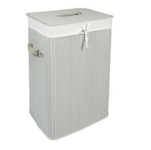EHC Rectangular Folding Bamboo Laundry Basket, Grey 40cm x 30cm x 50cm H