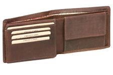 Geldbörse dünn mit Klappe LEAS MCL im Vintage-Stil in Echt-Leder, braun