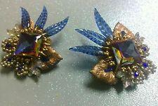 Vintage Antique Sapphire Glass Seed Pearl Huge Earrings
