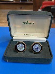 Vintage Opal Cuff Links Gold Tone Anson NOS W/Orig Receipt.