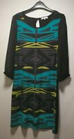 Butterfly Black Geometric Long Sleeve A-Line Dress - Size 12 (234)