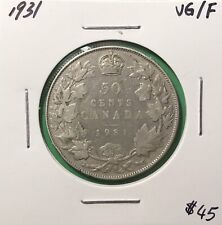 Canada 1931 Fifty Cents Silver 50 Cent VG/F