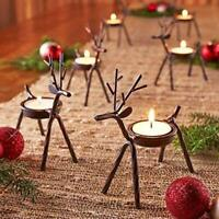 Reindeer Set of Christmas Tea Light Holder Table Candles Metal Stand for Mantle
