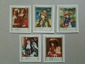 Manama Renoir/Terbrugghen Painting MNH Imperf Stamps , Set of 5