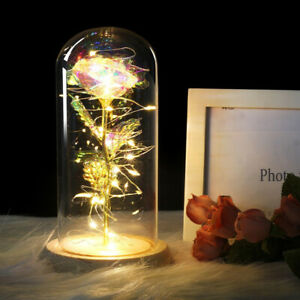 Beautiful Rose In A Glass Dome On A Wooden Base LED Rose Lamps Valentine's Gifts