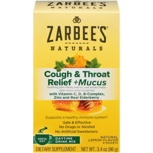Zarbee's Naturals Cough & Throat Relief + Mucus Daytime Drink Mix W/ Honey 6 ct+