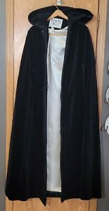 Vintage Black Cloak Cape Velvet Floor Length, Hooded Satin Lining Wedding Goth
