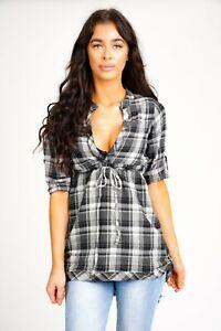 Women's Check Mini Shirt Dress Ladies V Neck Summer Casual Tunic Tops